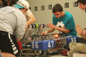 Students work on the 2016 robot.