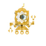 Our mascot, Firsty, depicted in brass with Steampunk style gears and a monacle.