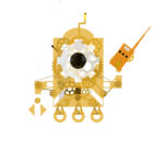 Our mascot, Firsty, depicted in brass with Steampunk style gears and a radio.