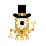 Our mascot, Firsty, depicted in brass with Steampunk style gears and a top hat.